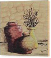 Three Pots And Twigs Wood Print