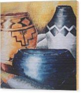 Three Pots Wood Print