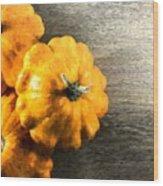 Three Pumpkins On Wood Wood Print