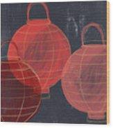 Three Red Lanterns- Art By Linda Woods Wood Print