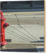 Three Red Lines Wood Print