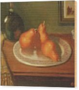Three Red Pears And Cognac Wood Print