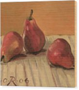 Three Red Pears Wood Print by Raimonda Jatkeviciute-Kasparaviciene