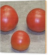 Three Red Tomatoes Wood Print