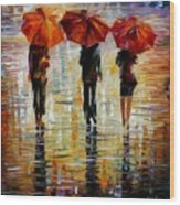 Three Red Umbrella Wood Print