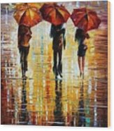 Three Red Umbrellas Wood Print