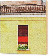 Three Red Windows With Flowers Of A Typically Italian House. Wood Print