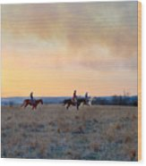 Three Riders In The Kansas Flint Hills Wood Print