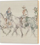 Three Riders Wood Print