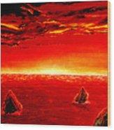 Three Rocks In Sunset Wood Print