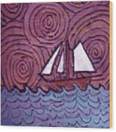 Three Sails And The Wind Wood Print