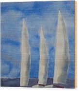 Three Sails Wood Print