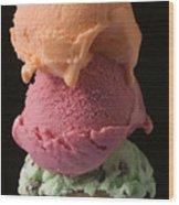 Three Scoops Of Ice Cream  Wood Print