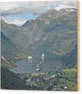 Three Ships At Geiranger Fjord Wood Print