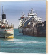Three Ships In The Harbor Wood Print