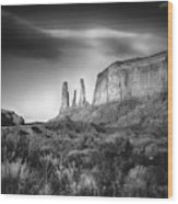 Three Sisters Formation At Monument Valley Wood Print