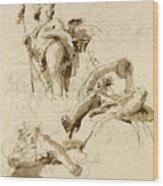 Three Studies Of The God Bacchus Wood Print