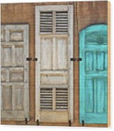 Three Taos Doors Wood Print