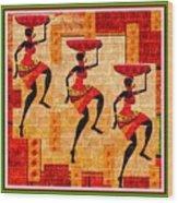 Three Tribal Dancers L B With Alt. Decorative Ornate Printed Frame. Wood Print