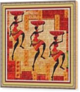 Three Tribal Dancers L B With Decorative Ornate Printed Frame Wood Print