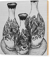 Three Vases Wood Print
