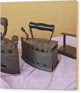 Three Vintage Irons Wood Print