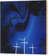 Three White Crosses Wood Print