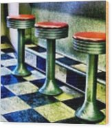 Three White Steamer Stools Wood Print