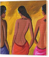 Three Women With Tattoos Wood Print