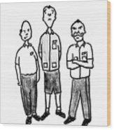 Three Workers Wood Print