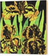 Three Yellow-black Irises, Painting Wood Print