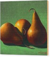 Three Yellow Pears Wood Print