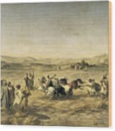 Threshing Wheat In Algeria Wood Print