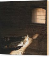Through The Bars Of The Barn I Lie Wood Print