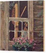 Through The Cabin Window Wood Print by Lynda  Lawrence