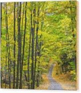 Through Yellow Woods Wood Print
