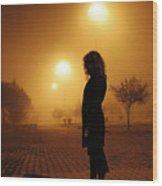 Thru The Fog Wood Print