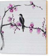 Thumb Bird In Plum Blossom Wood Print