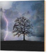 Thunder And Lightning Wood Print