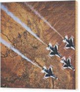 Thunderbirds In Diamond Roll Formation Wood Print