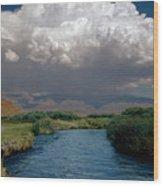 2a6738-thunderhead Over Owens River  Wood Print