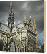 Thunderous Notre Dame Wood Print