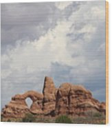 Thunderstorm Clouds Over Turret Arch Wood Print