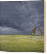 Thunderstorm On The Prairie Wood Print