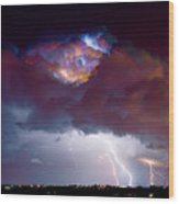 Lightning Thunderstorm Over Dacono Wood Print