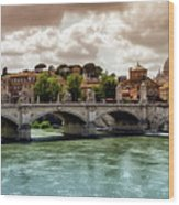Tiber River, Ponte Sant'angelo And St. Peter's Cathedral, Roma, Italy Wood Print