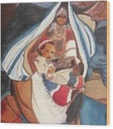 Tibetan Grandmother And Baby Wood Print by Suzanne  Marie Leclair