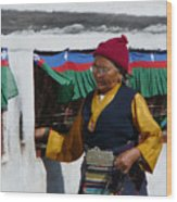 Tibetan Grandmother Turning The Prayer Wheel Wood Print
