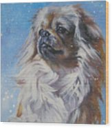 Tibetan Spaniel In Snow Wood Print