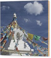 Tibetan Stupa With Prayer Flags Wood Print
